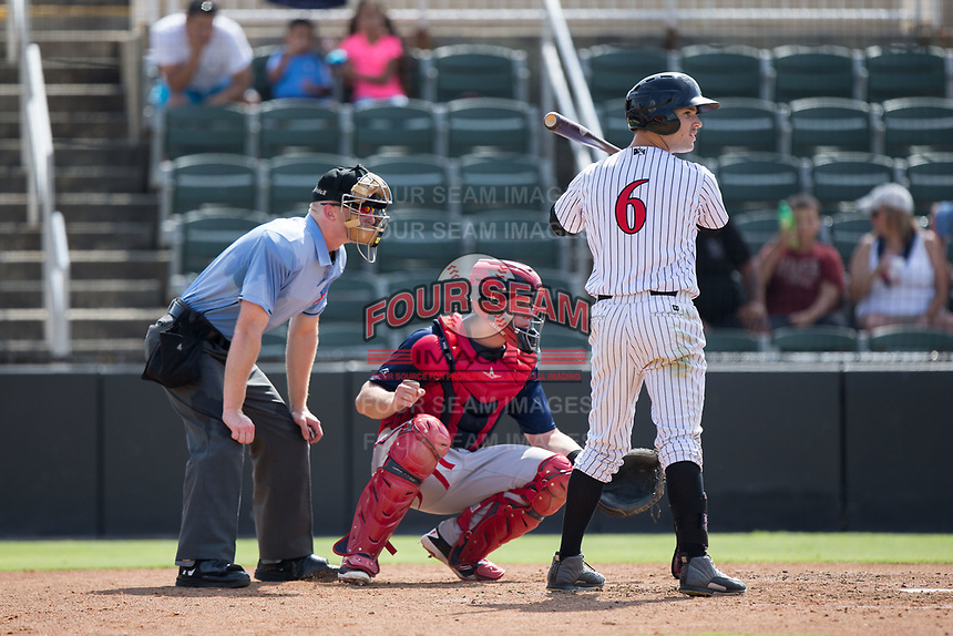 Luis Gonzalez (6) of the Kannapolis Intimidators at bat against the Hagerstown Suns at Kannapolis Intimidators Stadium on July 9, 2017 in Kannapolis, North Carolina.  The Intimidators defeated the Suns 3-2 in game one of a double-header.  (Brian Westerholt/Four Seam Images)