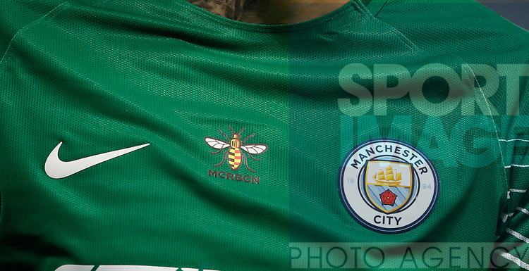 The Manchester bee symbol is shown half in Barcelona colours to support the city after the terrorist incidents during the Premier League match at the Eithad Stadium, Manchester. Picture date 21st August 2017. Picture credit should read: Simon Bellis/Sportimage