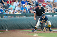 Michigan Wolverines third baseman Blake Nelson (10) fields a ground ball against the Vanderbilt Commodores during Game 3 of the NCAA College World Series Finals on June 26, 2019 at TD Ameritrade Park in Omaha, Nebraska. Vanderbilt defeated Michigan 8-2 to win the National Championship. (Andrew Woolley/Four Seam Images)