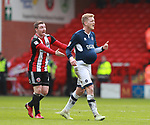 John Fleck of Sheffield Utd protests as George Saville of Millwall hides the ball and wastes minutes during the championship match at the Bramall Lane Stadium, Sheffield. Picture date 14th April 2018. Picture credit should read: Simon Bellis/Sportimage