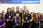 COLUMBUS, OH - MARCH 11:  National champion West Virginia University stands at the podium during the Division I Rifle Championships held at The French Field House on the Ohio State University campus on March 11, 2017 in Columbus, Ohio. (Photo by Jay LaPrete/NCAA Photos via Getty Images)