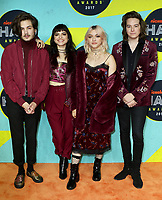 www.acepixs.com<br /> <br /> November 4 2017, New York City<br /> <br /> Rena Lovelis, Nia Lovelis, Casey Moreta and Iain Shipp of Hey Violet arriving at the Nickelodeon Halo Awards 2017 at Pier 36 on November 4, 2017 in New York City<br /> <br /> By Line: Nancy Rivera/ACE Pictures<br /> <br /> <br /> ACE Pictures Inc<br /> Tel: 6467670430<br /> Email: info@acepixs.com<br /> www.acepixs.com