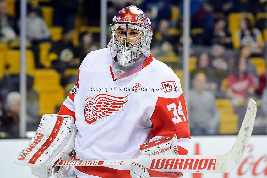 Wednesday, March 8, 2017: Detroit Red Wings goalie Petr Mrazek (34) warms up prior to the National Hockey League game between the Detroit Red Wings and the Boston Bruins held at TD Garden, in Boston, Mass.  Boston defeats Detroit 6-1 in regulation time. Eric Canha/CSM