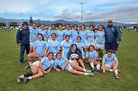 The Ngati Porou team poses for a group photo after the 2019 Hurricanes Youth Council Under-15 Girls' Rugby Tournament match between Ngati Porou East Coast and Mana College at Playford Park in Levin, New Zealand on Tuesday, 3 September 2018. Photo: Dave Lintott / lintottphoto.co.nz
