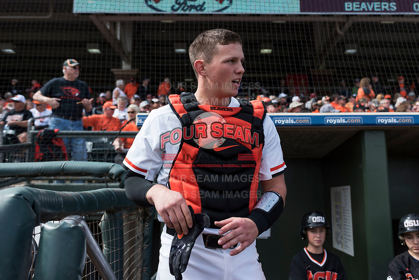 Oregon State Beavers catcher Adley Rutschman (35) before a game against the New Mexico Lobos on February 15, 2019 at Surprise Stadium in Surprise, Arizona. Oregon State defeated New Mexico 6-5. (Zachary Lucy/Four Seam Images via AP)