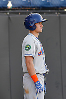 Kingsport Mets outfielder Jarred Kelenic (20) in the on deck circle during a game against the Burlington Royals at Burlington Athletic Complex on July 28, 2018 in Burlington, North Carolina. Burlington defeated Kingsport 4-3. (Robert Gurganus/Four Seam Images)