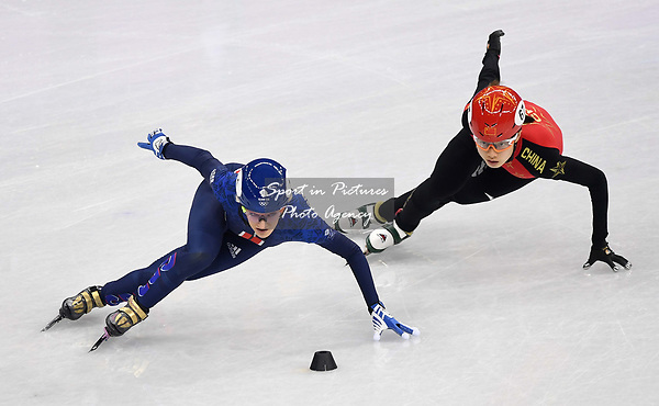 Elise Christie (GBR) and Chunyu Qu (CHN, 67). Short track. Gangneung ice arena. Pyeongchang2018 winter Olympics. Gangneung. Republic of Korea. 10/02/2018. ~ MANDATORY CREDIT Garry Bowden/SIPPA - NO UNAUTHORISED USE - +44 7837 394578