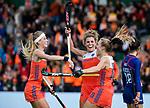 ROTTERDAM - Kyra Fortuin (Ned) heeft gescoord en viert het met Yibbi Jansen (Ned) en Maria Verschoor (Ned)  tijdens de Pro League hockeywedstrijd dames, Netherlands v USA (7-1)  ..COPYRIGHT  KOEN SUYK