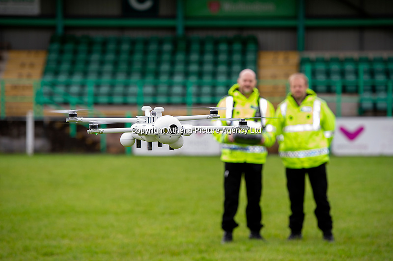 Pictured: The sky mantis drone in action at Caerphilly RFC, Wales, UK. Thursday 13 June 2019<br /> Re: Gwent Police Force has held a live demonstration of their brand new, purpose built police drones, on the grounds of Caerphilly RFC, Wales, UK.<br /> The Force now has 25 specially trained and qualified officers who are also drone pilots giving 24/7 coverage. <br /> All officers have passed a Civil Aviation Authority (CAA) accredited training and are qualified remote pilots.