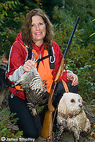 Successful ruffed grouse hunter with their dog