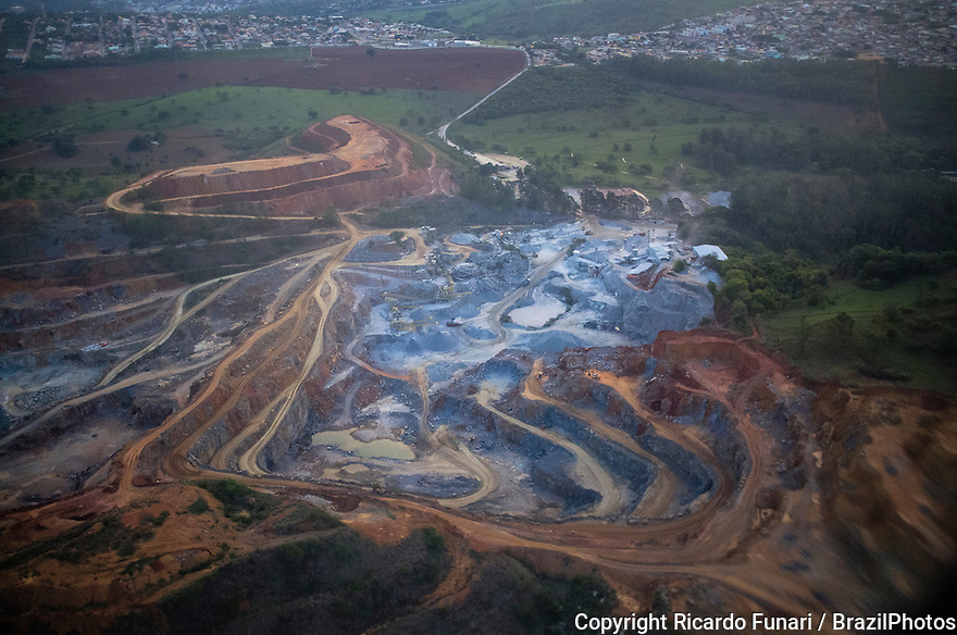 Extraction of granite and limestone in quarry, mining area in the outskirts of Belo Horizonte city, capital of Minas Gerais State, Brazil.