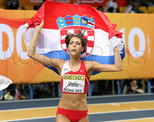 13/03/2010 Athletics IAAF  World Cup Doha Qatar  Athletics IAAF  World Championships in Doha Hall High jump women Picture shows the cheering from Blanka Vlasic CRO