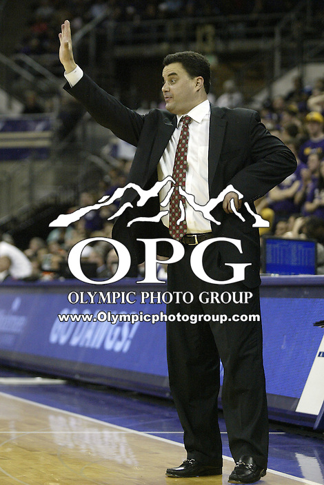 04 February 2010:  Arizona head coach Sean Miller instructs his players from the bench during the game against Washington. Washington won 81-75 over Arizona at the Bank of America Arena in Seattle, WA.