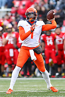 College Park, MD - October 27, 2018: Illinois Fighting Illini quarterback AJ Bush Jr. (1) throws a pass during the game between Illinois and Maryland at  Capital One Field at Maryland Stadium in College Park, MD.  (Photo by Elliott Brown/Media Images International)