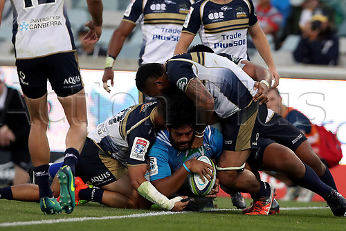 April 30th 2017,Canberra, Australia; Super Rugby Match; Brumbies versus Blues; Akira Ioane crashes over to score