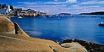 Hancock County, ME: Wharf and lobsteer boats on Stonington Harbor, view across Deer Isle Thorofare from Deer Island