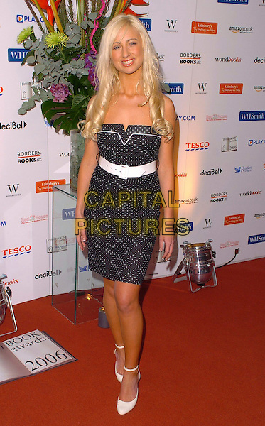 CHANTELLE HOUGHTON.British Book Awards at Grosvenor House, Park Lane, London, UK..March 29th, 2006.Ref: CAN.full length black white polka dot dress shoes belt.www.capitalpictures.com.sales@capitalpictures.com.© Capital Pictures.