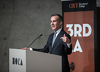 "City of Los Angeles Mayor Eric Garcetti introduces the program.<br /> Occidental College's 3rd LA (Re)Designing LA series continues in the Ahmanson Auditorium at The Museum of Contemporary Art (MOCA) on March 27, 2019. Hosted by Oxy Professor of Practice and Chief Design Officer for the City of Los Angeles Christopher Hawthorne, guest speakers and panelists discussed ""Strange Beauty: Making Sense of L.A. Architecture from the 1980s and 1990s.""<br /> 3rd LA is co-sponsored by Occidental, the Mayor's Office and the Los Angeles Department of Cultural Affairs.<br /> (Photo by Marc Campos, Occidental College Photographer)"