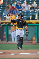 Francisco Arcia (10) of the Salt Lake Bees in action against the New Orleans Baby Cakes at Smith's Ballpark on June 11, 2018 in Salt Lake City, Utah. New Orleans defeated Salt Lake 6-5.  (Stephen Smith/Four Seam Images)