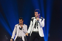 Danny Wood and Joey McIntyre of The New Kids on The Block perform at BB&T Center during The Package Tour 2013, Sunrise, Florida, June 22, 2013