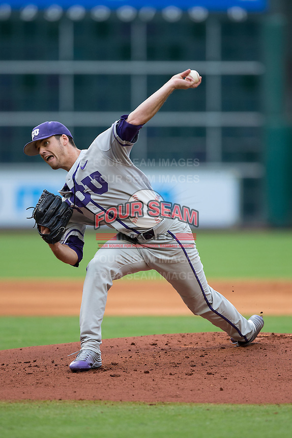 Texas Christian Horned Frogs starting pitcher Rex Hill (12) delivers a pitch to the plate against the Houston Cougars at Minute Maid Park on February 28, 2016 in Houston, Texas.  The Horned Frogs defeated the Cougars 10-1.  (Brian Westerholt/Four Seam Images)