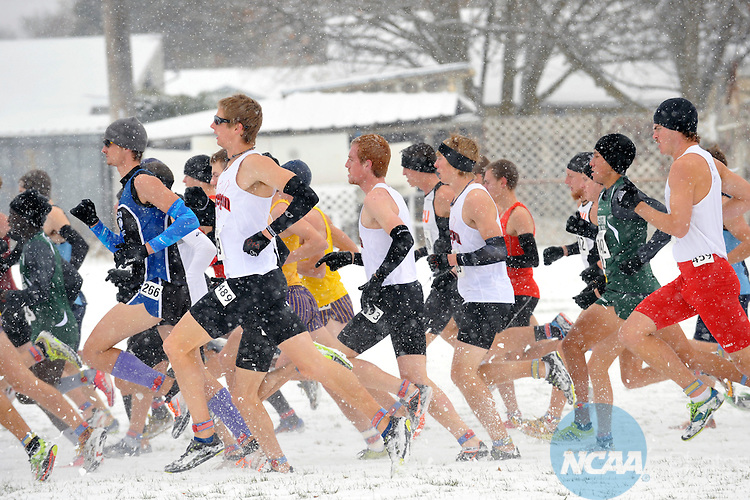 19 NOV 2011: The men's race gets off to a fast start during the Division II Men's Cross Country Championship held at the Plantes Ferry Athletic Complex in Spokane, WA.  Spence finished the race with a time of 20:53 to claim the national title. Brian Plonka/ NCAA Photos