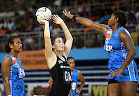 22.01.2015 Silver Ferns Ellen Halpenny in action during the netball test match between the Silver Ferns and Fiji at the Vodafone Arena in Suva Fiji. Mandatory Photo Credit ©Michael Bradley.