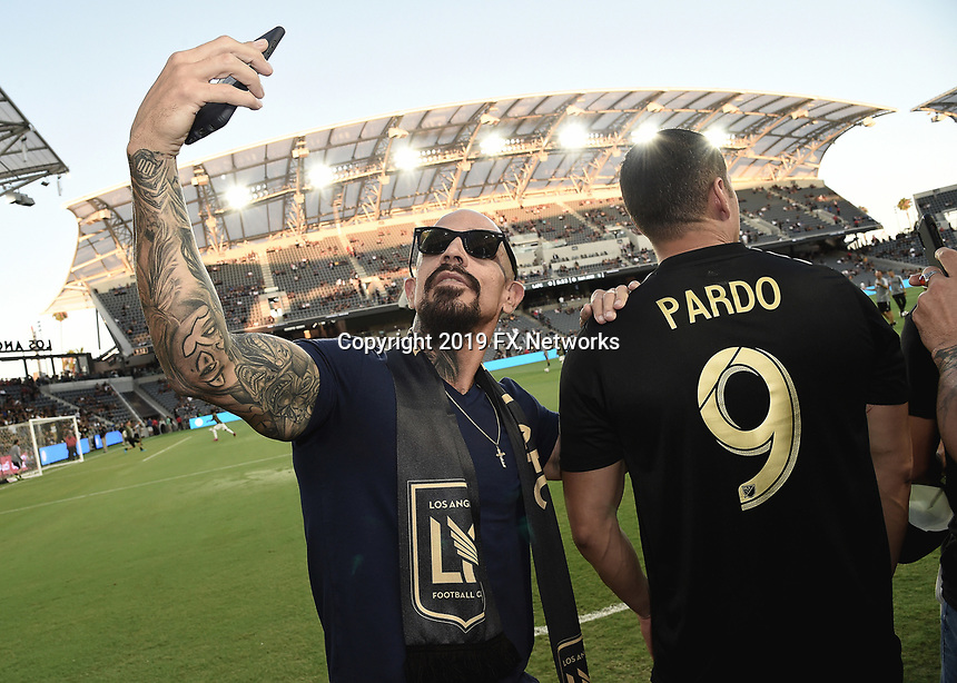"""LOS ANGELES - AUGUST 21:  Joseph Lucero at FX's """"Mayans M.C."""" Activation at Los Angeles Football Club at Banc of California Stadium on August 21, 2019 in Los Angeles, California. (Photo by Scott Kirkland/FX Networks/PictureGroup)"""