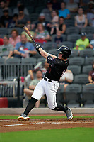Fayetteville Woodpeckers Chandler Taylor (17) at bat during a Carolina League game against the Down East Wood Ducks on August 13, 2019 at SEGRA Stadium in Fayetteville, North Carolina.  Fayetteville defeated Down East 5-3.  (Mike Janes/Four Seam Images)