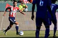 Mariano Trujillo of Chivas USA navigates through a maze of KC Wizards defenders. The Kansas City Wizards defeated CD Chivas USA 2-0 at Home Depot Center stadium in Carson, California on Sunday September 19, 2010.