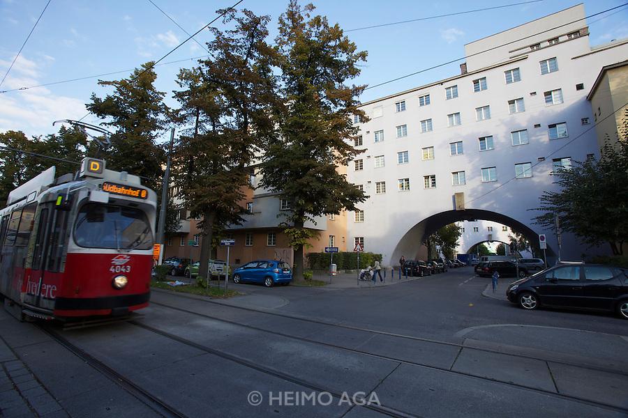 Vienna, Karl-Marx-Hof.The arches across Halteraugasse.