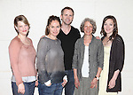 """Kellie Overbey, Amy Brenneman, Lee Tergesen, Beth Dixon and Virginia Kull.attending the Meet & Greet for the Playwrights Horizons production of """"Rapture, Blister, Burn'  at their rehearsal studio in New York City on 4/17/2012"""