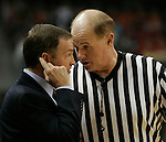 UNLV Runnin  Rebels Play  Oklahoma State Cowboys, at the at the Thomas and Mack in Las Vegas on Sat Dec 18th 2004, in the Las Vegas Showdown Basketball Tournament on Sat Dec 18th   UNLV head coach Lon Kruger, argues a call by Official.Larry Burton