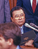 United States Senator Daniel K. Inouye (Democrat of Hawaii), Chairman of the Senate Select Committee on Secret Military Assistance to Iran and the Nicaraguan Opposition, is photographed during a summer, 1987 hearing. Senator Inouye passed away due to respiratory complications at Walter Reed National Military Medical Center in Bethesda on Monday, December 17, 2012. He was 88..Credit: Arnie Sachs / CNP