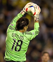 Houston Dynamo goal keeper Pat Onstad makes a leaping save during the Western Conference Final. The LA Galaxy defeated the Houston Dynamo 2-1 to win the MLS Western Conference Final at Home Depot Center stadium in Carson, California on Friday November 13, 2009.....