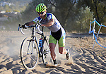 October 17, 2015 - Boulder, Colorado, U.S. - Men's elite cyclist, Kevin Bradford-Parish #34, works his way through a difficult sandy pitch during the U.S. Open of Cyclocross, Valmont Bike Park, Boulder, Colorado.