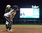 Michigan Wolverines Softball infielder Abby Ramirez (1) on third during a game against the University of South Florida Bulls on February 8, 2014 at the USF Softball Stadium in Tampa, Florida.  Michigan defeated USF 3-2.  (Copyright Mike Janes Photography)