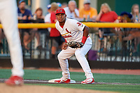 Johnson City Cardinals first baseman Leandro Cedeno (5) during a game against the Danville Braves on July 28, 2018 at TVA Credit Union Ballpark in Johnson City, Tennessee.  Danville defeated Johnson City 7-4.  (Mike Janes/Four Seam Images)
