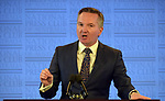 Chris Bowen, Australia's shadow treasurer, speaks during a post budget address in Canberra, Australia, on Wednesday, April 10, 2019. Photographer: Mark Graham/Bloomberg