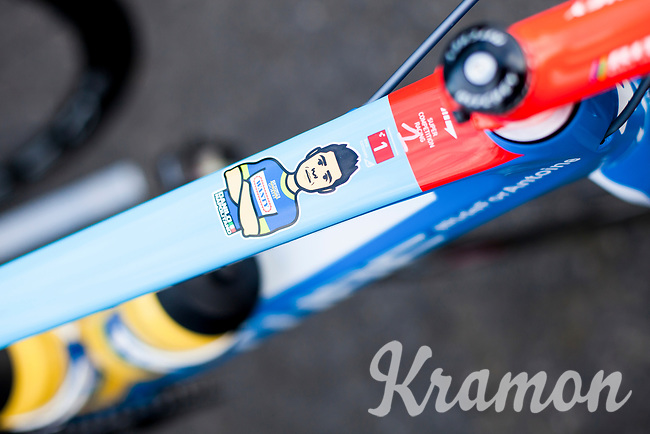 Danillo Napolitano (ITA/Wanty - Groupe Gobert) top tube bike sticker<br /> <br /> 3 Days of De Panne 2017<br /> Morning stage 3: De Panne-De Panne (111,5km)