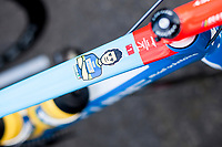 Danillo Napolitano (ITA/Wanty - Groupe Gobert) top tube bike sticker<br /> <br /> 3 Days of De Panne 2017<br /> Morning stage 3: De Panne-De Panne (111,5km)