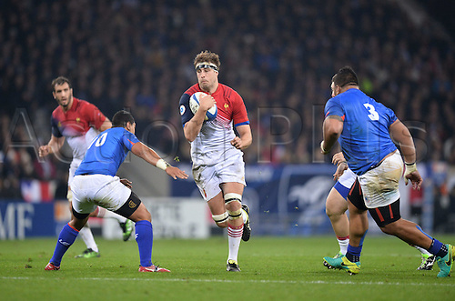 12.11.2016. Stadium Toulouse, Toulouse, France. Autumn International rugby match, France versus Samoa.  Julien Ledevedec (fra) runs into tackle cover