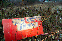 "A sign sits across the street of the Olympic Animal Sanctuary in Forks, WA on December 9, 2013.  It is unclear who left it but it sat next to other signs which read: ""Reserved 4 Westboro Baptist Church.""  According to the Southern Poverty Law Center WBC is an extremist group whose ""theology is ""Primitive Baptist,"" a doctrine that holds that God chooses a few elect humans to save, but will send everybody else to hell.""<br /> <br />  Owner Steve Markwell Markwell has been under fire for neglecting the dogs after volunteers filed a complaint in 2012. The City of Forks police department investigated and found horrific conditions but said legally they were unable to do anything about it. Markwell claims he has 125 dogs inside and believes he is their last hope.  Many of the dogs were turned over to him by rescues and shelters who deemed them dangerous. Mounting evidence of animal cruelty has prompted many of them to ask for their dogs back.  Markwell refuses and only lets a few trusted volunteers enter the premises."