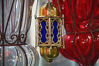 Glass lamp fixtures, Khan el Khalili Bazaar, Cairo, Egypt