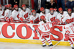 MADISON, WI - SEPTEMBER 29: The Wisconsin Badgers women's hockey celebrates a goal against the Quinnipiac Bobcats at the Kohl Center on September 29, 2006 in Madison, Wisconsin. The Badgers beat the Bobcats 3-0. (Photo by David Stluka)
