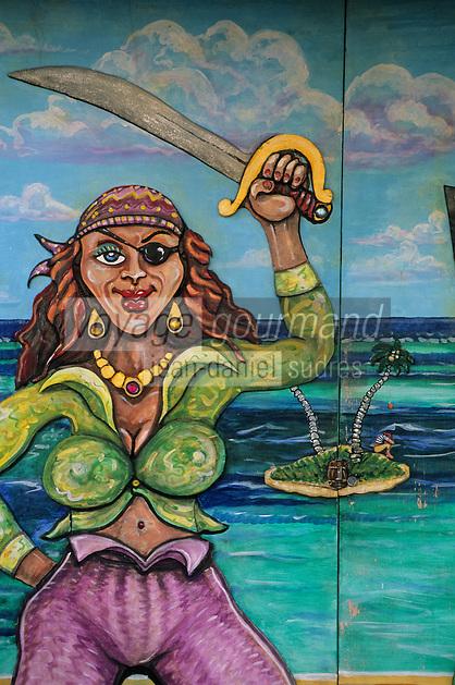 """Les Bahamas / New Providence et Paradise Island / Nassau: Détail du mur peint enseigne du pub du Musée """"Pirates of Nassau"""" de Nassau en mémoire des pirates bien célèbres King Steet et George Street - la Fianciée du pirate"""