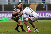 Adam Warren of Dragons is tackled by Cameron Woki of Bordeaux Begles during the European Challenge Cup match between Dragons and Bordeaux Begles at Rodney Parade, Newport, Wales, UK. 20 January 2018