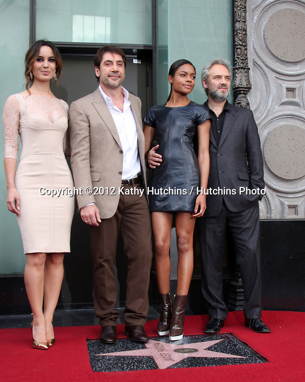 LOS ANGELES - NOV 8:  Berenice Marlohe, Javier Bardem, Naomie Harris, Sam Mendes at the Hollywood Walk of Fame Star Ceremony for Javier Bardem at El Capitan Theater on November 8, 2012 in Los Angeles, CA