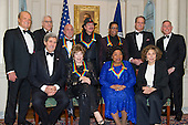The five recipients of the 2013 Kennedy Center Honors pose for a group photo following a dinner hosted by United States Secretary of State John F. Kerry at the U.S. Department of State in Washington, D.C. on Saturday, December 1, 2013.  The 2013 honorees are opera singer Martina Arroyo; pianist, keyboardist, bandleader and composer Herbie Hancock; pianist, singer and songwriter Billy Joel; actress Shirley MacLaine; and musician and songwriter Carlos Santana. From left to right: <br /> Credit: Ron Sachs / CNP