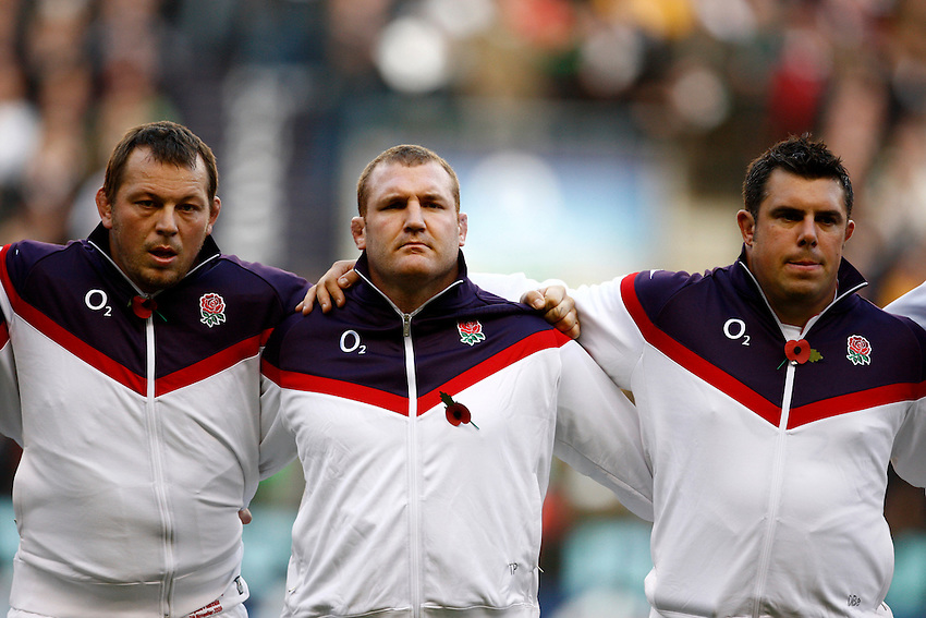 Photo: Richard Lane/Richard Lane Photography. England v Australia. Cook Cup. Investec Challenge Series 2009. 07/11/2009. England's (lt to rt) Steve Thompson, Tim Payne and Duncan Bell.